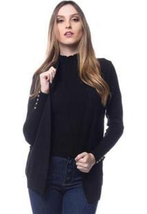 Cardigan Logan Tricot Modal Com Bolso Conforto Feminino - Feminino