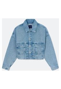 Jaqueta Cropped Cava Deslocada Bolsos Aplicados Em Jeans | Blue Steel | Azul | P