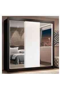 Guarda-Roupa Casal Madesa Lyon Plus 3 Portas De Correr Com Espelhos 4 Gavetas Preto/Branco Cor:Preto/Branco
