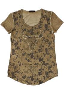 Camiseta Tassa Gold Camuflada Feminina - Feminino-Marrom