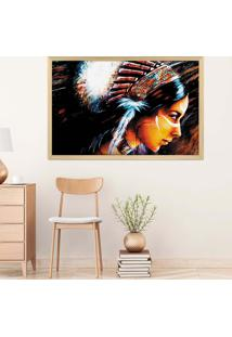 Quadro Love Decor Com Moldura India Madeira Clara Grande