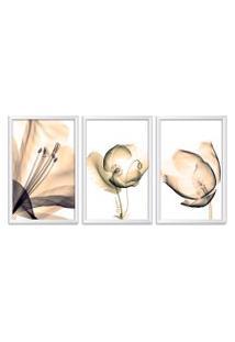 Quadro Oppen House 60X120Cm Flores Abstrato Transparentes Moldura Branca Estilo Raio X Decorativo Interiores Mod:Oh0015