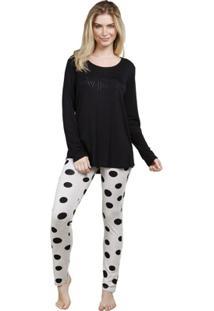 Pijama Inspirate De Inverno Com Legging Poá - Feminino-Preto