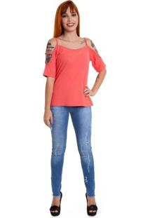 Blusa Versani Ombros Vazado Feminina - Feminino-Laranja