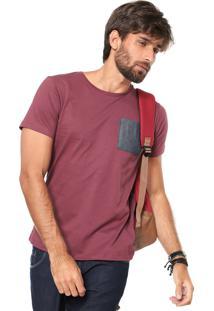 Camiseta Fiveblu Manga Curta Com Bolso Vinho