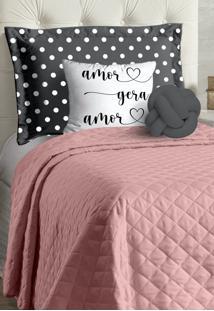 Cobre Leito Solteiro Casa Modelo Acompanha Almofadas 4 Peças Gabi - Rosê