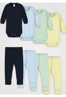 Kit 10Pçs Body Culote Zupt Baby Enxoval Azul Marinho - Kanui