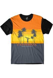 Camiseta Long Beach California Surfista Sublimada Masculina - Masculino-Laranja+Preto