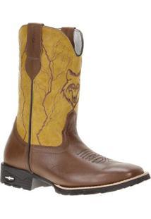 Bota Couro Cow Way Cowboy 20785 Masculina - Masculino-Marrom+Amarelo