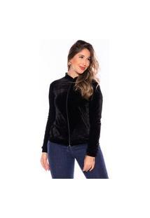 Jaqueta Bomber Veludo Casaco M&A Modas Preta