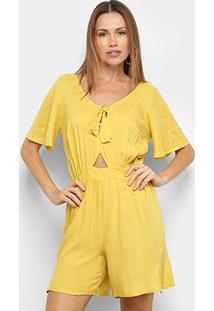 Macacão Mercatto Curto Com Amarração Liso Feminino - Feminino-Amarelo