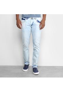 Calça Jeans Slim Zamany Lavagem Marmorizada Masculina - Masculino