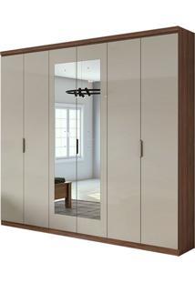 Guarda Roupa Alonzo Plus Com Espelho 6 Portas Imbuia Naturale/Off White
