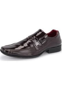 Sapato Social Sintético 836 Marrom Verniz Schiareli