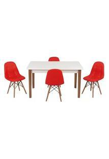 Conjunto Mesa De Jantar Luiza 135Cm Branca Com 4 Cadeiras Botonê - Vermelho