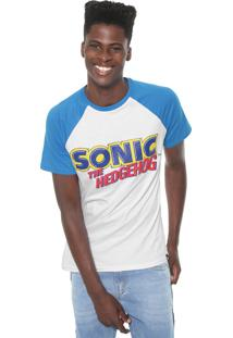 Camiseta Tectoy Raglan Sonic The Hedgehog Authentic Branca/Azul