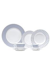 Aparelho Jantar Wolff New Bone China 42 Peças Porcelana Branco/Azul
