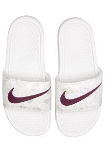 Chinelo Nike Benassi Jdi Print - Slide - Feminino - Branco/Vinho