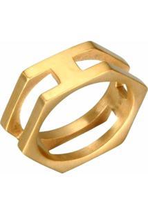 Anel Empório Top Aço Inox Hexágono Gold