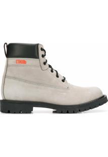 Heron Preston Ankle Boot Com Cadarço - Cinza