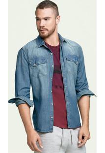 Camisa Jeans Masculina Hering Com Bolsos