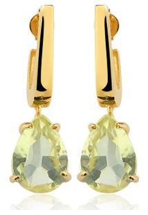 Brinco Toque De Joia Mini Anzol Quartzo Green Gold - Feminino-Dourado