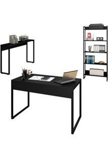 Conjunto Escritório Mesa 120 Aparador E Estante Studio Industrial M18