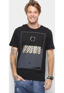 Camiseta Cavalera Com Dourado Masculina - Masculino-Preto
