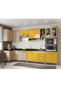 Cozinha Completa Com Tampo 15 Portas 8 Peças Sicília Multimóveis Argila/Amarelo