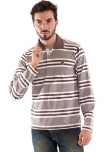 Camisa Polo Konciny Malha Confort Marrom