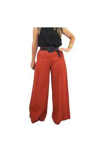 Calça Pantalona Em Linho Mania De Sophia Botões Terracota