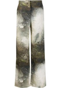 Acne Studios Dyed-Effect Flared Trousers - Marrom