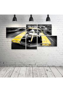 Quadro Decorativo - Carro-Amarelo - Composto De 5 Quadros - Multicolorido - Dafiti