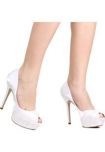 Sapato Peep Toe Zariff Noivas Salto Fino Branco