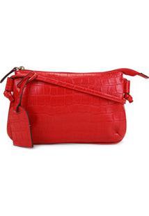 Bolsa Shoestock Crossbody Travel Croco Feminina - Feminino-Vermelho