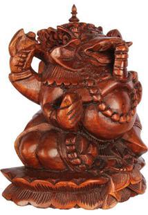 Escultura Ganesh Em Madeira Suar