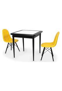 Conjunto Mesa De Jantar Em Madeira Preto Prime Com Azulejo + 2 Cadeiras Botonê - Amarelo