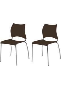 Kit 2 Cadeiras 357 Cacau/Cromado - Carraro Móveis