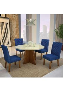 Mesa De Jantar Lisboa 100Cm Com Vidro Offwhite + 4 Cadeiras Lisboa Tecido 2022 - Amêndoa