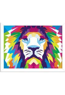 Quadro Decorativo Animal Leão Abstrato Colorido Moderno Branco - Médio