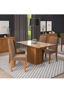 Sala De Jantar Com 4 Cadeiras 130X80 Ana/Milena-Cimol - Savana / Off White / Pluma