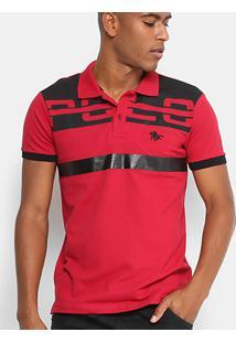 Camisa Polo Rg 518 Piquet Logo Bordado Masculina - Masculino-Vermelho