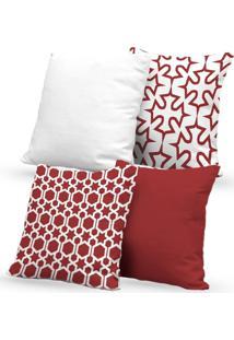 Kit 4 Capas Almofadas Decorativas Own Geométricas E Lisas Vermelha E Branca 45X45 - Somente Capa