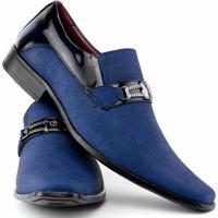 844b8ca439 Sapato Social Gofer Estilo Italiano Em Couro Legítimo Masculino - Masculino- Azul