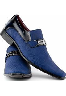 Sapato Social Gofer Estilo Italiano Em Couro Legítimo Masculino - Masculino-Azul