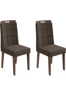 Conjunto De Cadeiras De Jantar 2 Nevada Veludo Imbuia E Marrom Escuro