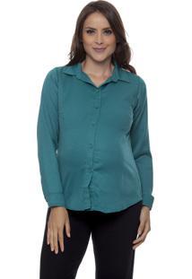 Camisa Tem Gente Moda Gestante Verde