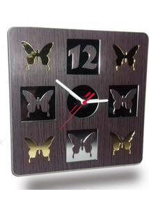 Relógio De Parede Em Madeira Mdf Laminado Borboletas Em Espelhos Decoramix