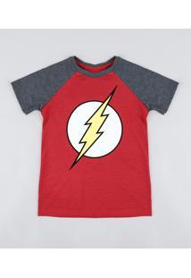 Camiseta Infantil The Flash Raglan Manga Curta Gola Careca Vermelha