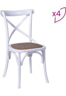 Jogo De Cadeiras Cross- Branco & Bege- 4Pã§S- Or Or Design